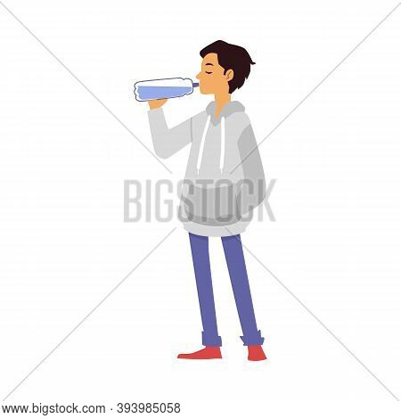 Teenage Boy Quenches Thirst With Drinking Water From Bottle A Vector Illustration
