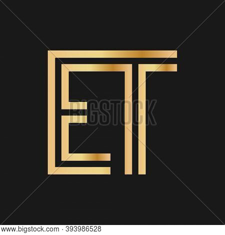 Uppercase Letters E And T. Flat Bound Design In A Golden Hue For A Logo, Brand, Or Logo. Vector Illu