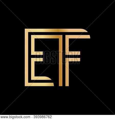 Uppercase Letters E And F. Flat Bound Design In A Golden Hue For A Logo, Brand, Or Logo. Vector Illu