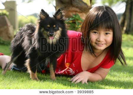 Cute  Asian  Child With A Dog