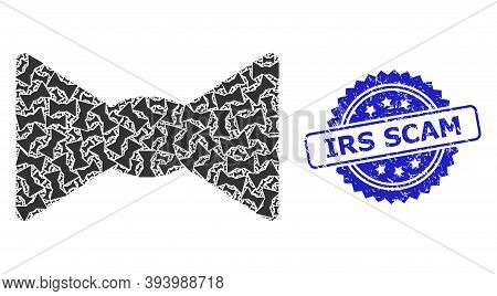 Irs Scam Scratched Stamp Seal And Vector Fractal Mosaic Bow Tie. Blue Stamp Seal Includes Irs Scam C
