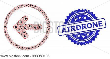 Airdrone Rubber Seal Imitation And Vector Recursive Collage Left Pointer. Blue Stamp Seal Contains A
