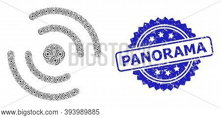 Panorama Rubber Seal And Vector Recursion Collage Propeller Rotation. Blue Seal Includes Panorama Ta