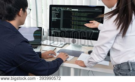 Asian Software Engineer Programmer Team Working Together On Project Of The System Coding New Applica