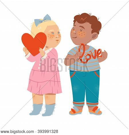 Cute Flushed Boy And Girl Standing Holding Love Sign Vector Illustration