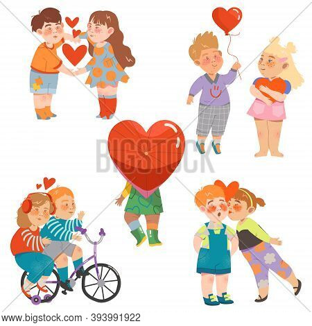 Flushed And Shy Little Boy And Girl Holding Hands And Kissing Feeling Love Vector Illustration Set