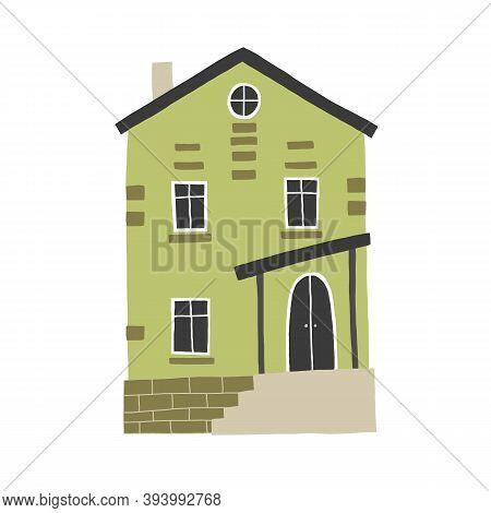 One Green House Vector Drawing, Cartoon Cute