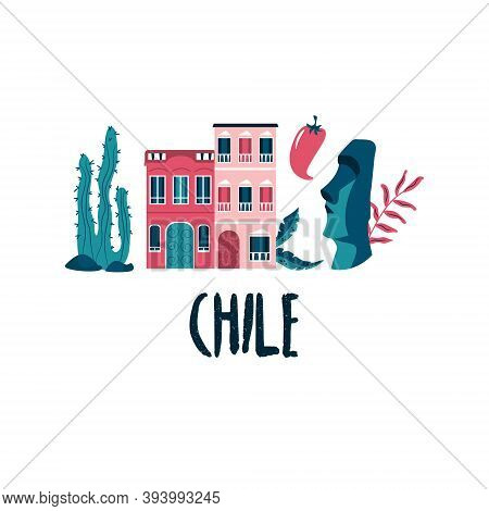 Colorful Poster, Design With Landmarks And Symbols Of Chile Country.