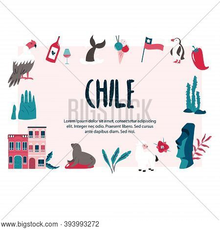 Abstract Banner With Famous Symbols And Landmarks Of Chile, South America.