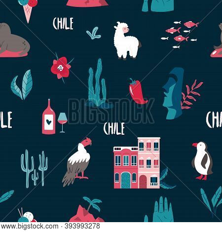 Seamless Pattern With Famous Landmarks And Symbols Of Chile. Llama, Valparaiso, Easter Island, Condo