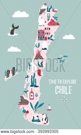 Chile Hand Drawn Vector Map With Famous Symbols, Landmarks Of The Country And Easter Island.