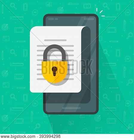 Mobile Secure Confidential Document Online Access With Private Lock, Permission Denied Padlock On Ph