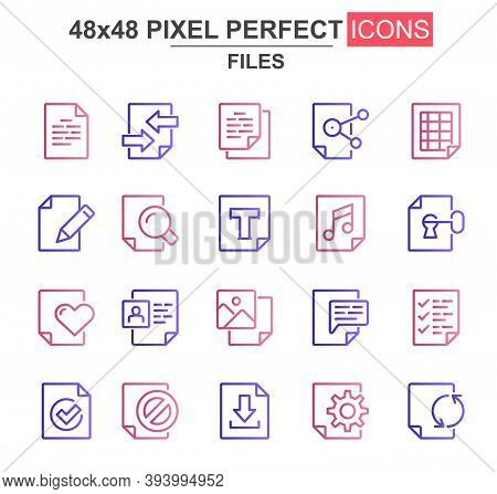 Files Thin Line Icon Set. Document Lock, Edit, Delete, Processing, Search, Preferences, Media Conten