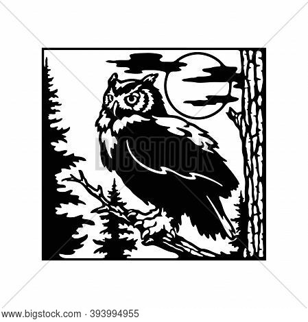 Owl Wildlife, Wildlife Stencils - Forest Silhouettes For Cricut, Wildlife Clipart, Png Cut File, Iro