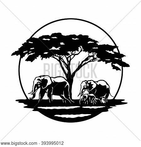 Elephant Family, Savanna, Africa Wildlife, Wildlife Stencils - Forest Silhouettes For Cricut, Wildli