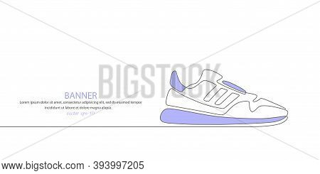 Sports Shoes In A Line Style. Sneakers Vector . Sketch Sneakers For Your Creativity.shoe Advertising