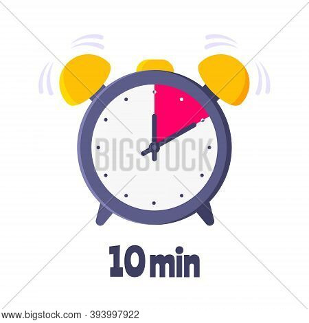 Ten Minutes On Analog Clock Face Flat Style Design Vector Illustration Icon Sign Isolated On White B