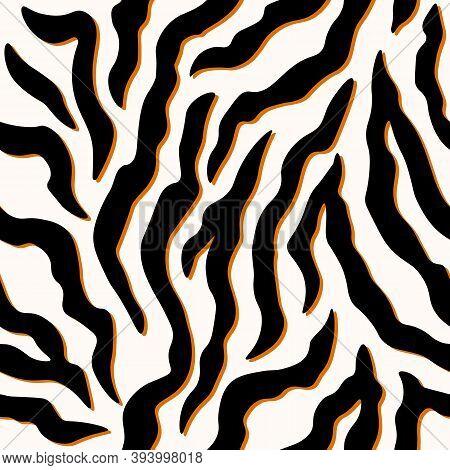 Zebra Stripes Seamless Pattern. Tiger Stripes Skin Print Design. Wild Animal Hide Artwork Background