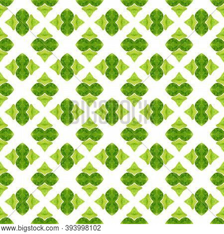 Watercolor Ikat Repeating Tile Border. Green Shapely Boho Chic Summer Design. Textile Ready Fantasti