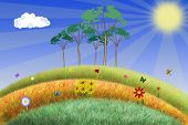 summer scene illustration with flowers and meadow on a summer sunny day. poster
