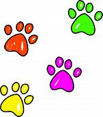 Colourful whimsical drawing of dog paw prints isolated on white. poster