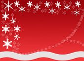 Snowflakes border with a wavy base and snowflake pattern on a red background poster