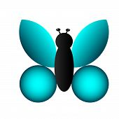 Aqua Butterfly vector image drawn for a personal icon set. poster
