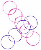 Colored circles made with paint on a white background poster