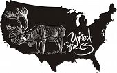 Caribou and U.S. outline map. Black and white vector illustration. Rangifer tarandus. poster