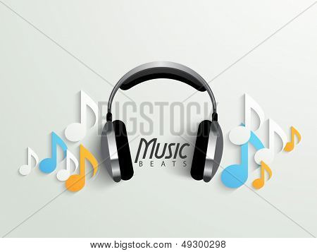 Musical background with headphone and colorful music notes, can be use as banner, flyer, poster or background.  poster