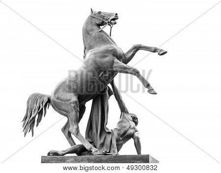 Horse Tamers Sculpture Isolated On White, Designed By The Russian Sculptor, Baron Peter Klodt Von Ur