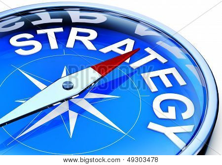 illustration of a compass with a strategy icon poster