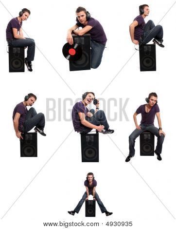 Boy Listening To Music In Different Positions