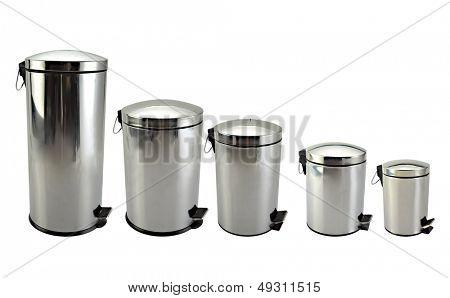 Isolated image of Five rubbish bin