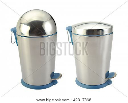 Stainless steel container isolated over white