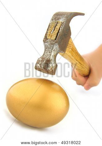 Hammer, just before it hits an golden egg.
