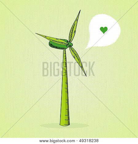 Hand Drawn Green Windmill