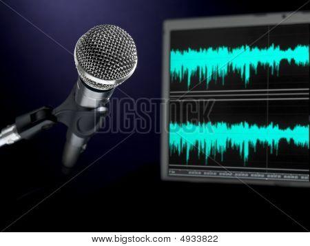 Microphone On Recording Studio.