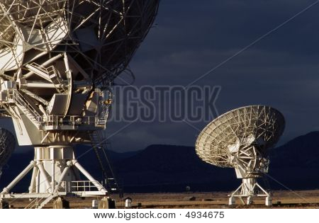 Two Large Radio Antennas