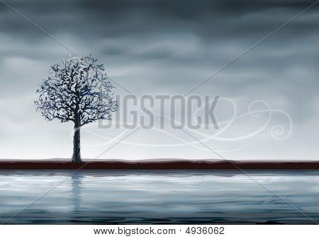 Grey Tree Over Water