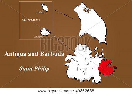 Antigua And Barbuda - Saint Philip Highlighted