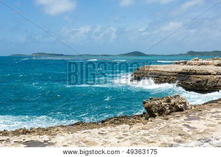 Scenic Ocean Coastline At Devil's Bridge Antigua
