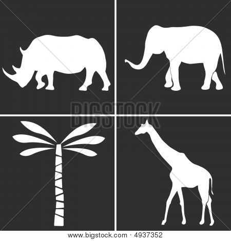 The African Nature Silhouettes Set. Vector Illustration. poster