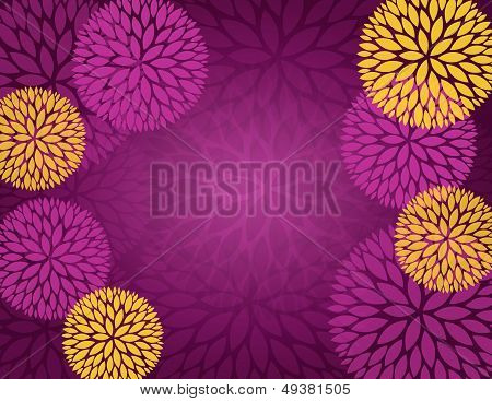 Purple Gold Abstract Flower Background