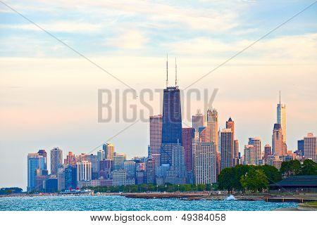 Chicago Stadtzentrum bei Sonnenuntergang