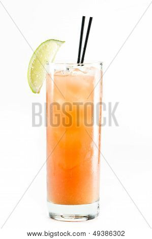 classic cocktail madras vodka cranberry and orange juice isolated on a white background poster