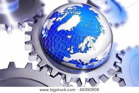 globe with gears