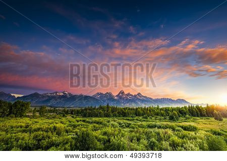Sunrise In The Wyoming Tetons
