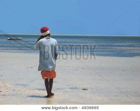 Black Man On The Beach