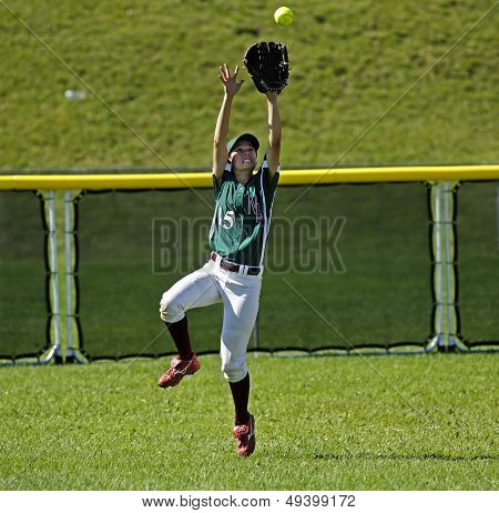 Canada Games Softball Woman Catch Ball Outfield